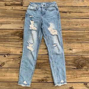 Wild Fable | Destroyed Raw Hem High Rise Mom Jeans